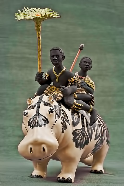 Ardmore ceramic figurine Hippo-Riders 2 native africans riding a white hippo