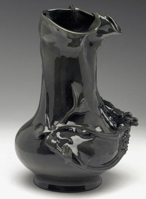Black gloss glaze Amphora Art Nouveau vase