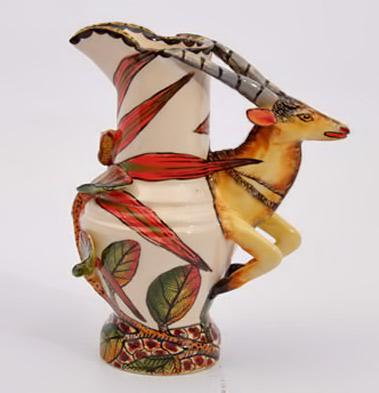 Vases---Jugs----Ardmore-Ceramic-Art--Buck-Jug Jug with huge red flower and buck handle
