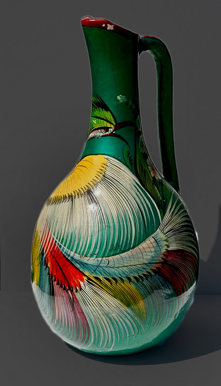 Very-Large-Vintage-Tonala-Mexican-Pottery-Burnished-Green-Feathered-Vase-with-Handle