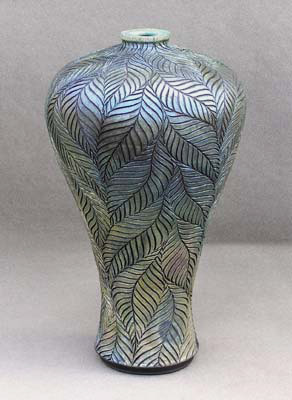 Incised baluster raku vase by Christopher Mathie