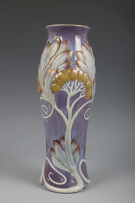 Sarreguemines Art Nouveau vase with tree in white and gold on lavender backgroind
