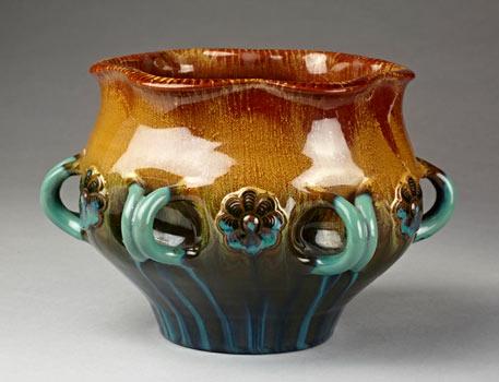 Six-handled bowl of lead-glazed earthenware