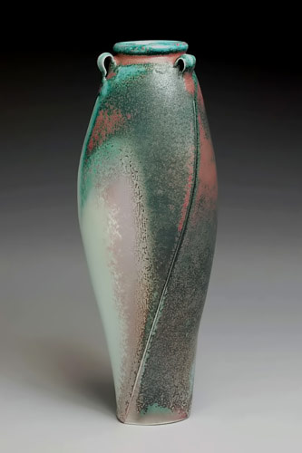 Jim Connell Green carved vase