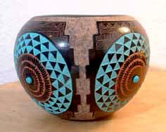 Zuni Pueblo Pot with turquoise and orange circle motifs