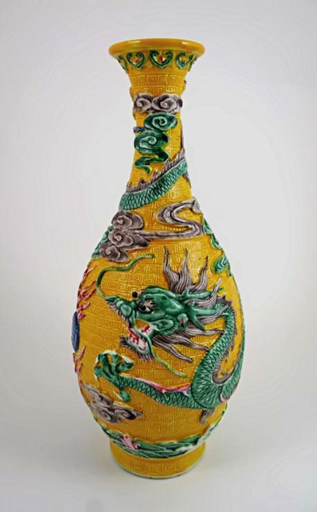 Chinese Qianlong tall dragon vase