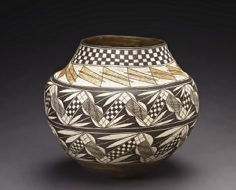 Storage jar (olla), ca. 1890–1910 with goemetric patterns