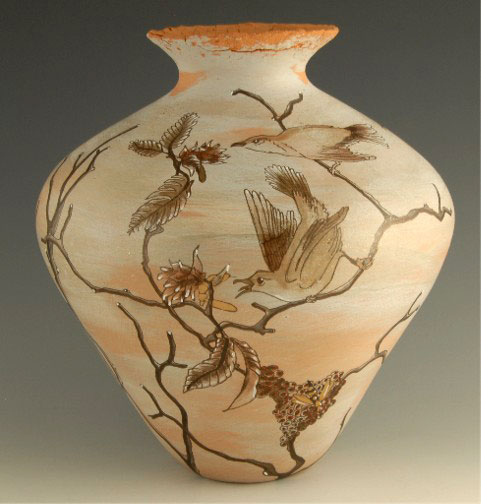 Susan Folwell Jar hand painted and decorated with birds on branches