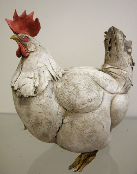 Brendan Hesmondhalgh big hen ceramic sculpture
