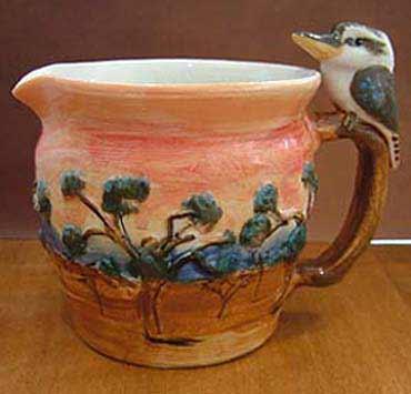 Kookaburra Jug Anita Reay - Australian pottery