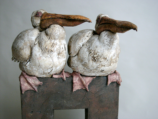 Two Pelicans sculpture by Brendan Hesmondhalgh