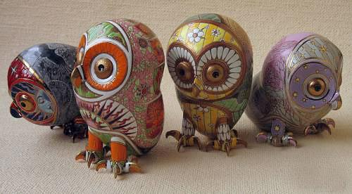 4 porcelain owls Anya Stasenko and Slava Leontyev, Ukraine