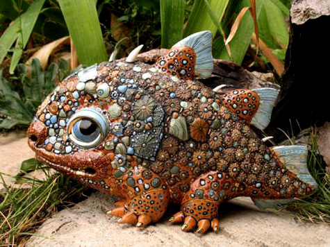 Painted Porcelain Lizard Anya Stasenko and Slava Leontyev