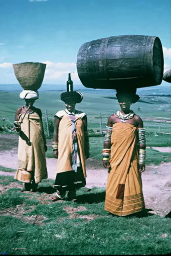women carrying a pot, bottle and a barrel Eastern Cape