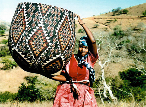 African Zulu girl with large basket