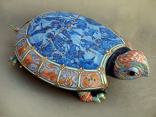 Porcelain 'Turtle Heaven' - turtle with zodiac on its back Anya Stasenko and Slava Leontyev, Ukraine