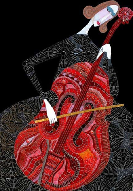 Mosaic-art-by-Russian-artist-Irina-Charny--Female-Cellist