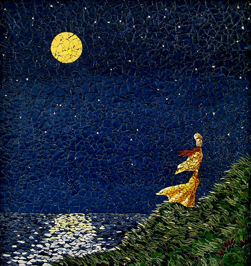 Nightwatch-Mosaic-Eggshell lady under a full moon at the ocean Linda Biggers