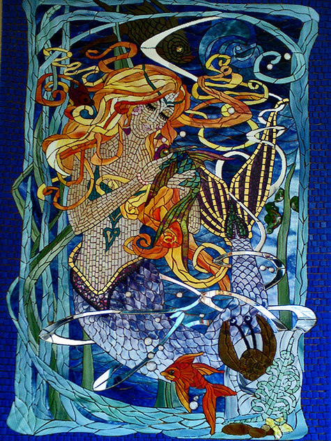 Under-water-mermaid-and-fish-panel, art nouveau style Sue Thompson