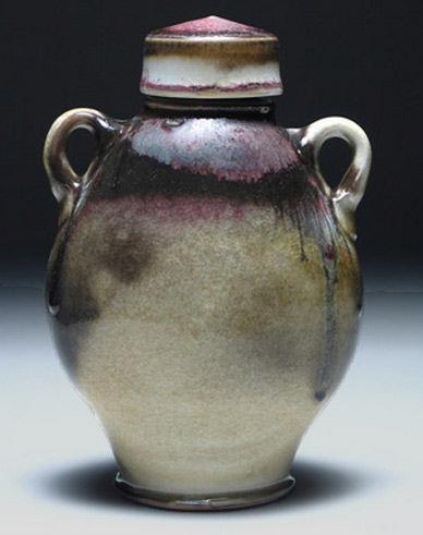 Shino Porcelain Bottle with twin handles and lid