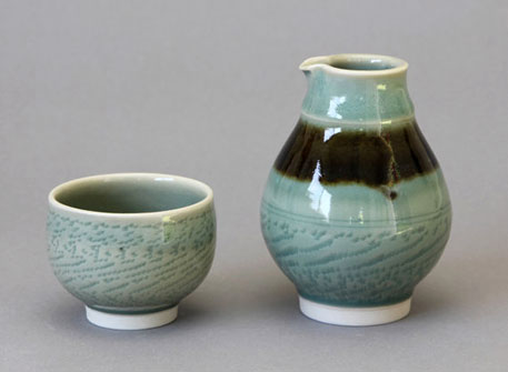 Wheel-thrown Porcelain Celadon Sake Bottle and Cup Chattering Decoration by Hsinchuen Lin