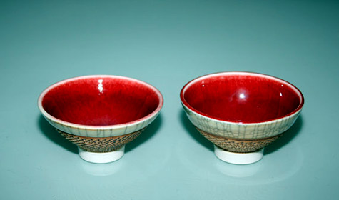 Hsin-Chuen-Lin two ceramic bowls - ox blood colour glaze on interior of bowl