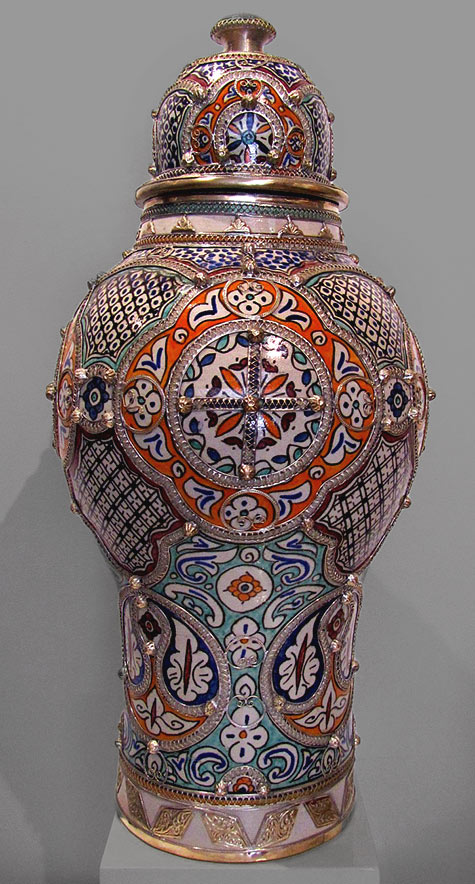 Lidded Jar Morocco with silver inlays