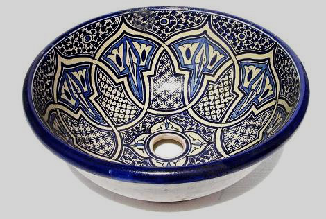Blue and white Ceramic Basin from Fez