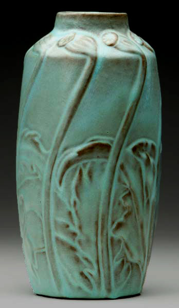 Green Van Briggle Nouveau Vase with botanical decoration