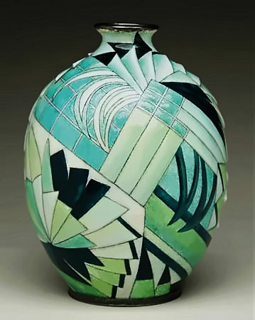 Ovoid Camille Faure Art Deco Vase with geometric and abstract patterns in greems and black