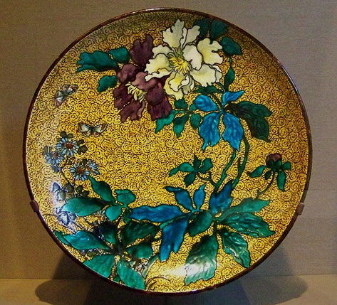Earthenware tray with floral hand painted decorationby Joseph Théodore Deck