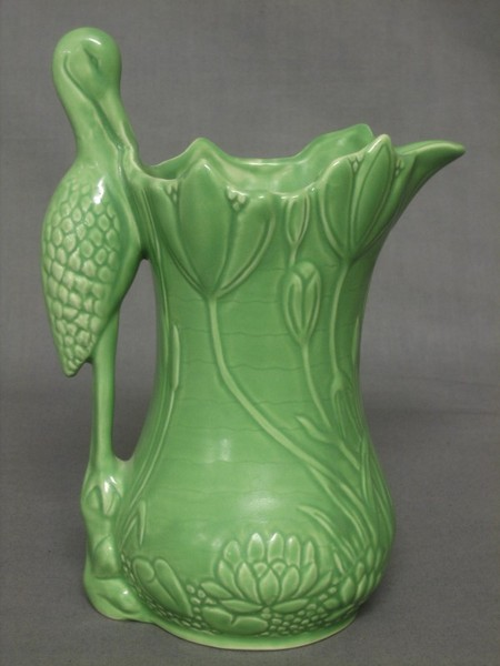 Sylvac pottery jug- Art Nouveau botanical styling with heron handle