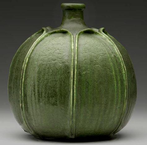 Grueby gourd shaped green vase