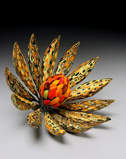 Michael Sherrill - Night Moderne ceramic floral sculpture