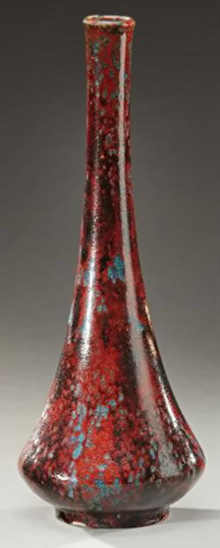 Red vase-with-paunchy-body by Pierre-Adrien Dalpayrat-