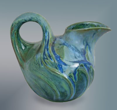 Green Denbac Curved Pitcher - French art pottery Denbac curved pitcher with ribbed design. - Terra Mare Antiques