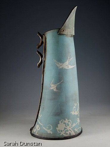Sarah Dunstan Pitcher with swallow motifs