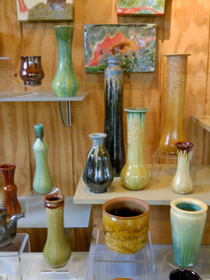 vase display for Bulldog Pottery