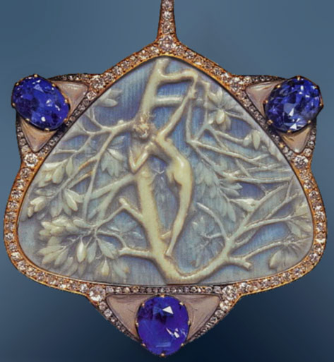 ivory, diamond and sapphire pendant by Rene Lalique