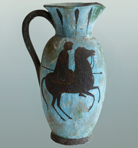 Ceramic-Ewer-Pitcher-by-Fantoni-for-Raymor,-1961 with man riding a horse
