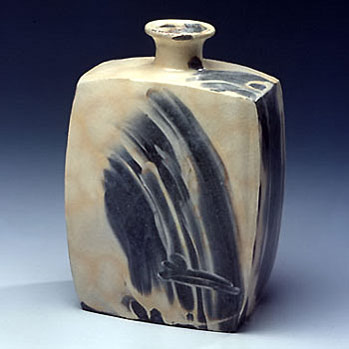 Choi Seong-Jae - pottery flat faced square bottle