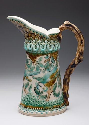 Claire Prenton-ceramic-pitcher with branch handle and botanical decoration