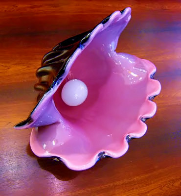 ceramic clam in pink