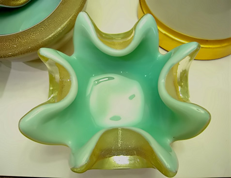 50's Murano glass jade green