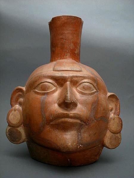 terracotta head drinking vessel Mochias culture