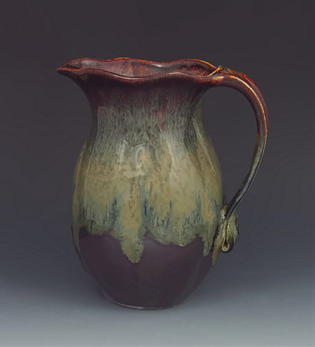 Hoffmans Pottery jug with wavey top edge