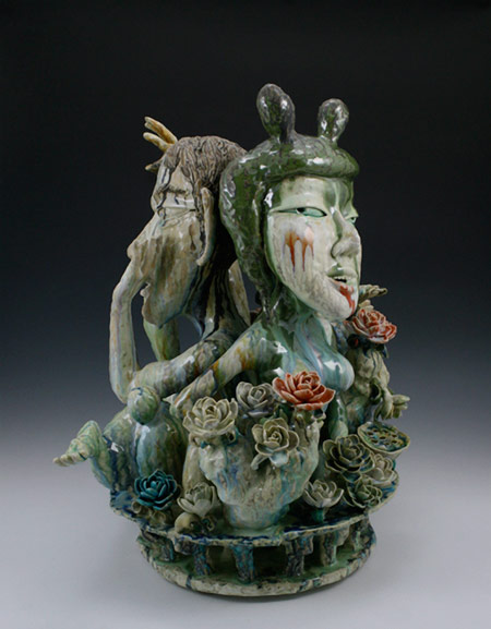 Pottery figurine 'I want to know you better' - Sun Koo Yuh