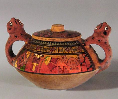 Inca vase with jaguar handles Mexico