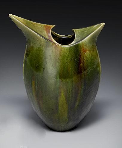 Kato Yasukage Vase - green glaze with modernist shape