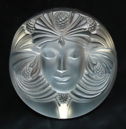 Lalique-crystal-paperweight - female face with pine cones